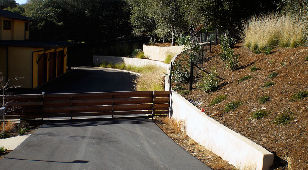 Radiused Colored Helical Tieback Shotcrete Walls Portola Valley