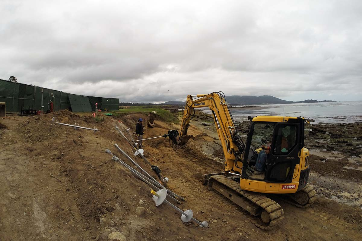 Installing Helical Tiebacks Coastal Site